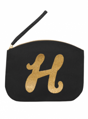 Svart Clutch med guldtryck - Bokstaven H