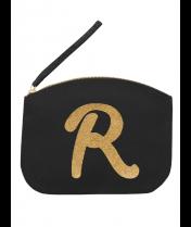 Svart Clutch med guldtryck - Bokstaven R