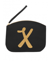 Svart Clutch med guldtryck - Bokstaven X