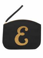 Svart Clutch med guldtryck - Bokstaven E