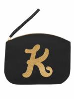 Svart Clutch med guldtryck - Bokstaven K