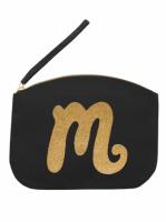 Svart Clutch med guldtryck - Bokstaven M