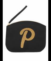 Svart Clutch med guldtryck - Bokstaven P