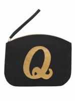 Svart Clutch med guldtryck - Bokstaven Q