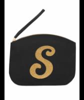Svart Clutch med guldtryck - Bokstaven S