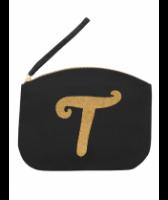 Svart Clutch med guldtryck - Bokstaven T