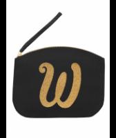 Svart Clutch med guldtryck - Bokstaven W