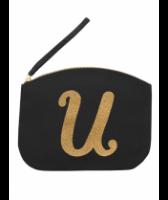 Svart Clutch med guldtryck - Bokstaven U